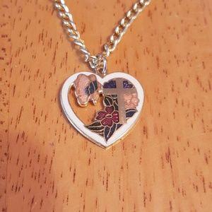 """Jewelry - 17"""" Heart cross flower enamel & gold tone chain."""